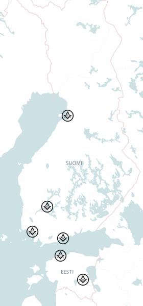 Le Droit Humain Suomen Liiton suomalaiset ja virolaiset looshit kartalla